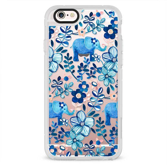 iPhone 4 Cases - Little Blue Elephant Watercolor Floral on Transparent