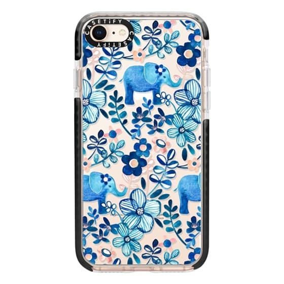iPhone 8 Cases - Little Blue Elephant Watercolor Floral on Transparent
