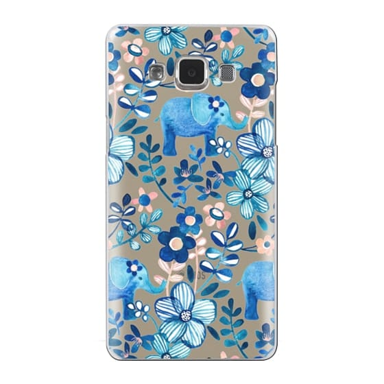 Samsung Galaxy A5 Cases - Little Blue Elephant Watercolor Floral on Transparent
