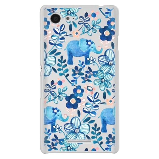 Sony E3 Cases - Little Blue Elephant Watercolor Floral on Transparent