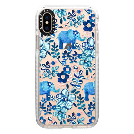 iPhone XS Cases - Little Blue Elephant Watercolor Floral on Transparent
