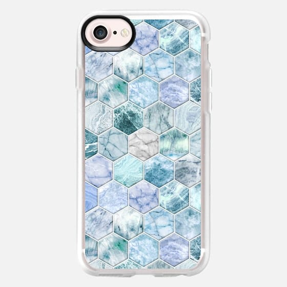 Ice Blue and Jade Stone and Marble Hexagon Tiles small -