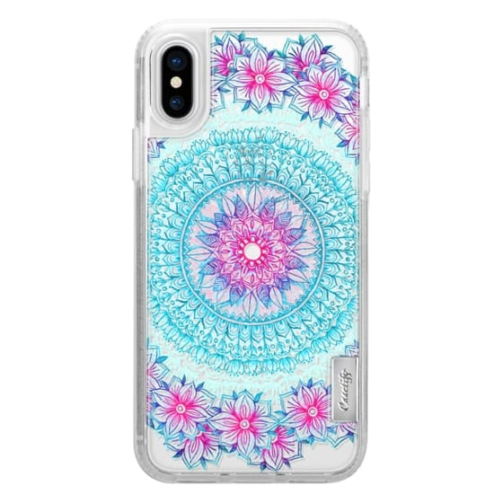 iPhone X Cases - Centered Pink & Teal Floral Mandala