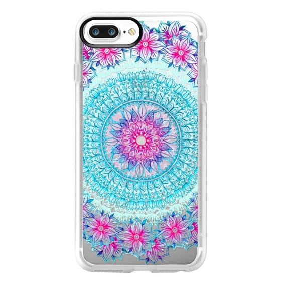 iPhone 7 Plus Cases - Centered Pink & Teal Floral Mandala