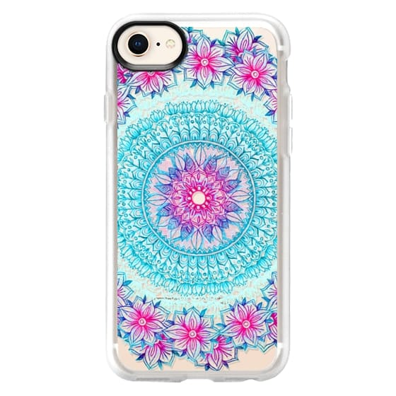 iPhone 8 Cases - Centered Pink & Teal Floral Mandala