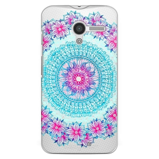 Moto X Cases - Centered Pink & Teal Floral Mandala