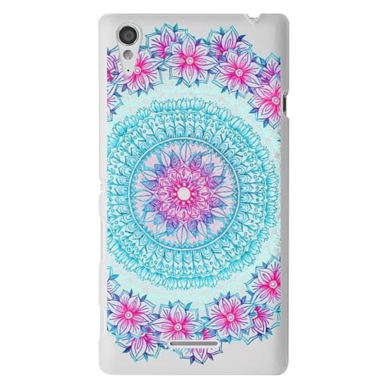 Sony T3 Cases - Centered Pink & Teal Floral Mandala