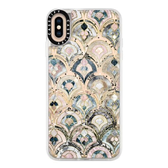 iPhone XS Max Cases - Art Deco Marble Tiles in Soft Pastel on transparent 2