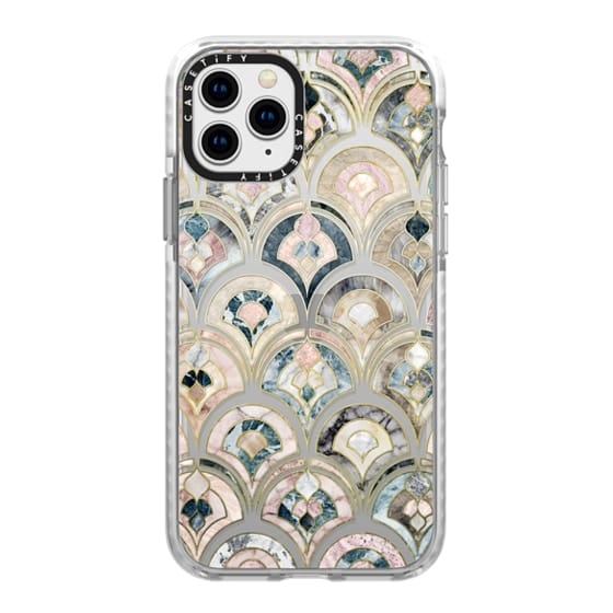 iPhone 11 Pro Cases - Art Deco Marble Tiles in Soft Pastel on transparent 2