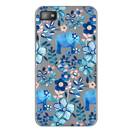 Blackberry Z10 Cases - Little Blue Elephant Watercolor Floral on Transparent
