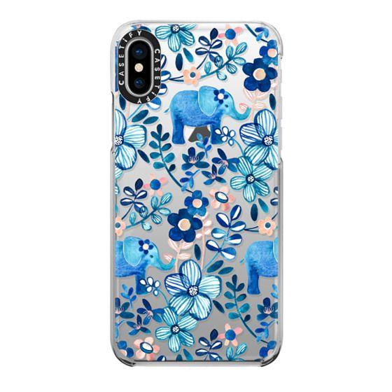 iPhone X Cases - Little Blue Elephant Watercolor Floral on Transparent