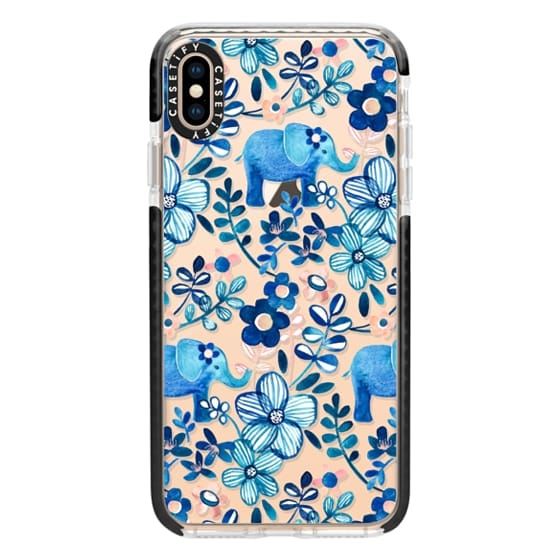 iPhone XS Max Cases - Little Blue Elephant Watercolor Floral on Transparent