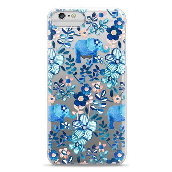iPhone 6 Plus Cases - Little Blue Elephant Watercolor Floral on Transparent