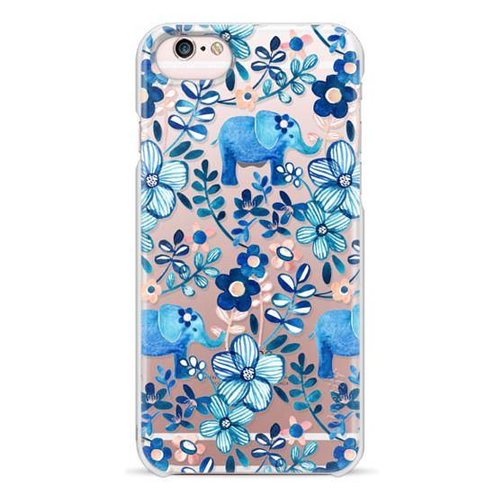 iPhone 6s Cases - Little Blue Elephant Watercolor Floral on Transparent
