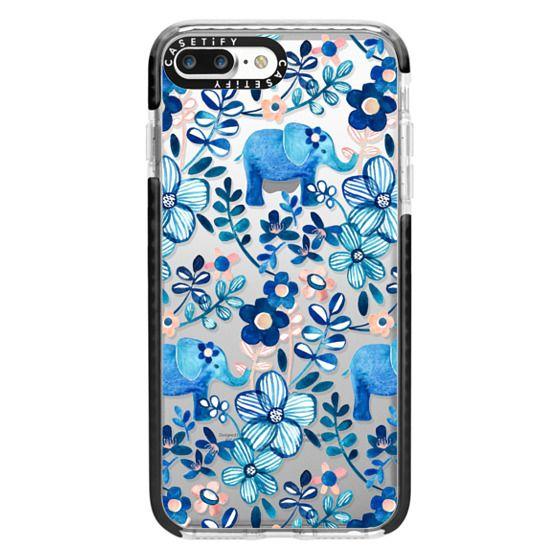 iPhone 7 Plus Cases - Little Blue Elephant Watercolor Floral on Transparent