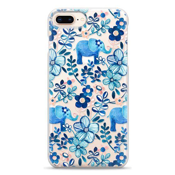 iPhone 8 Plus Cases - Little Blue Elephant Watercolor Floral on Transparent