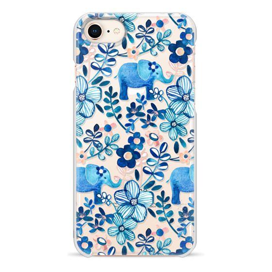 iPhone 8 Cases - Little Blue Elephant Watercolor Floral on Transparent