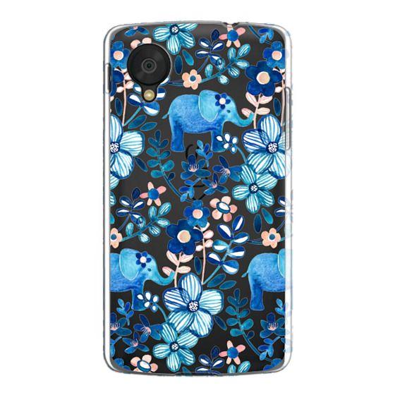 Nexus 5 Cases - Little Blue Elephant Watercolor Floral on Transparent