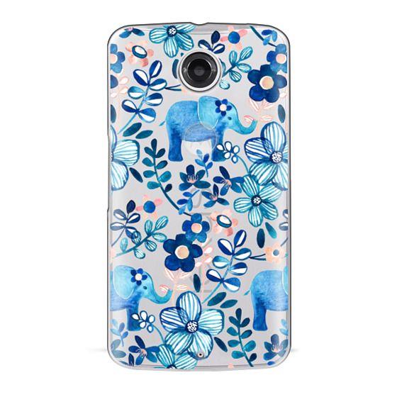 Nexus 6 Cases - Little Blue Elephant Watercolor Floral on Transparent