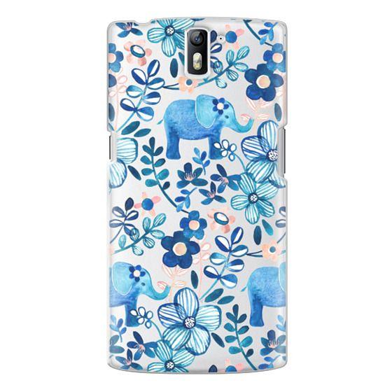 One Plus One Cases - Little Blue Elephant Watercolor Floral on Transparent