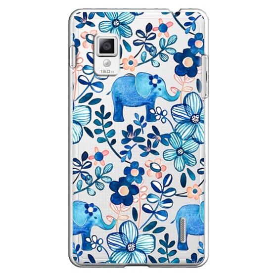 Optimus G Cases - Little Blue Elephant Watercolor Floral on Transparent
