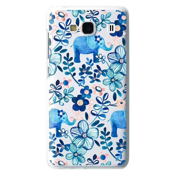 Redmi 2 Cases - Little Blue Elephant Watercolor Floral on Transparent