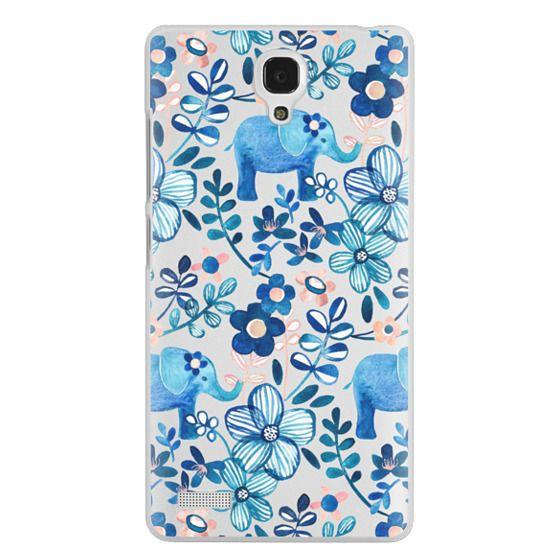 Redmi Note Cases - Little Blue Elephant Watercolor Floral on Transparent