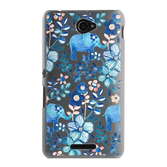Sony E4 Cases - Little Blue Elephant Watercolor Floral on Transparent