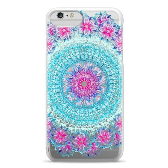 iPhone 6 Plus Cases - Centered Pink & Teal Floral Mandala