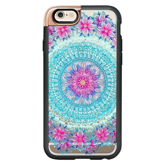 iPhone 6 Cases - Centered Pink & Teal Floral Mandala