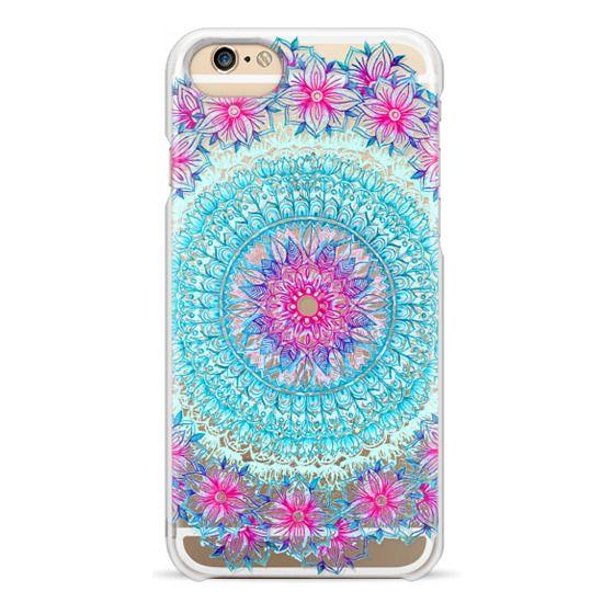 iPhone 6 Cases - Centered Pink & Teal Floral Mandala