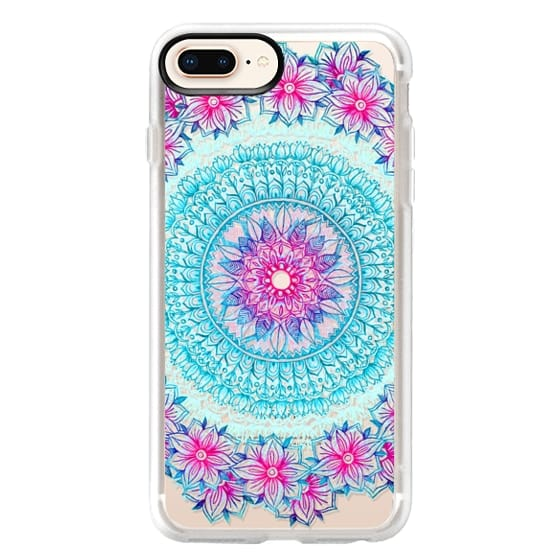 iPhone 8 Plus Cases - Centered Pink & Teal Floral Mandala