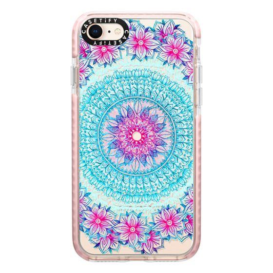 iPhone 8 Cases - Centered Pink & Teal Floral Mandala