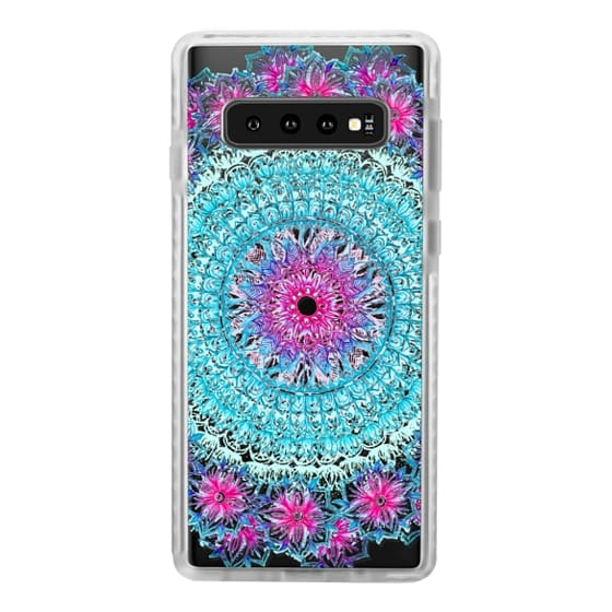 Samsung Galaxy S10 Cases - Centered Pink & Teal Floral Mandala