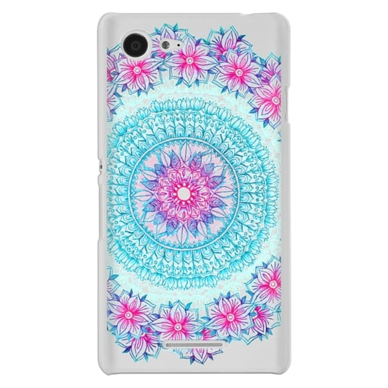 Sony E3 Cases - Centered Pink & Teal Floral Mandala