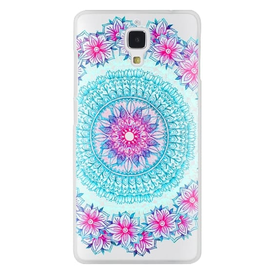 Xiaomi 4 Cases - Centered Pink & Teal Floral Mandala