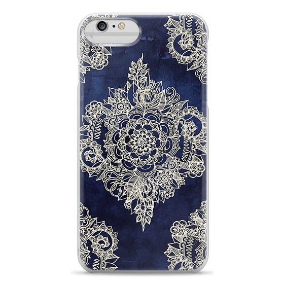 iPhone 6 Plus Cases - Cream Floral Pattern on Deep Indigo Ink