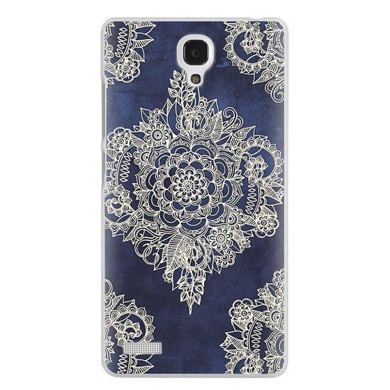 Redmi Note Cases - Cream Floral Pattern on Deep Indigo Ink