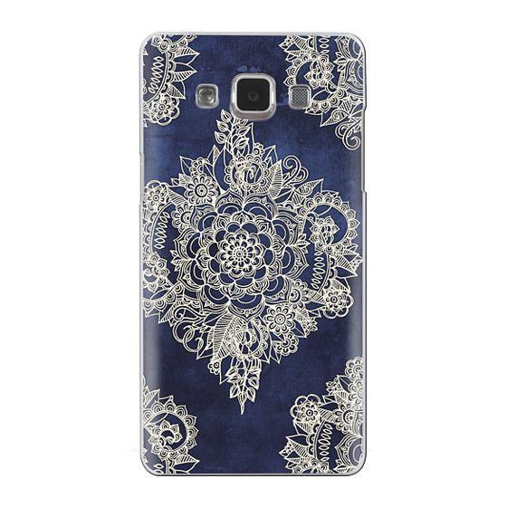 Samsung Galaxy A5 Cases - Cream Floral Pattern on Deep Indigo Ink