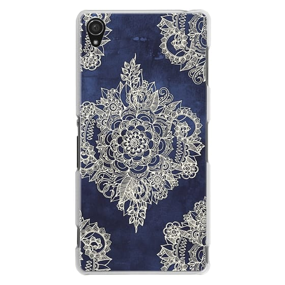 Sony Z3 Cases - Cream Floral Pattern on Deep Indigo Ink