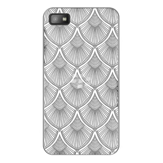 Blackberry Z10 Cases - White Art Deco Lace on Crystal Transparent