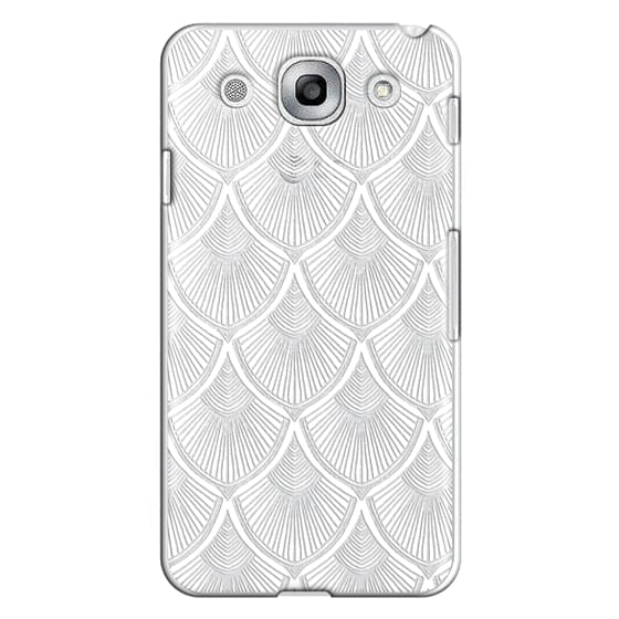 White Art Deco Lace on Crystal Transparent