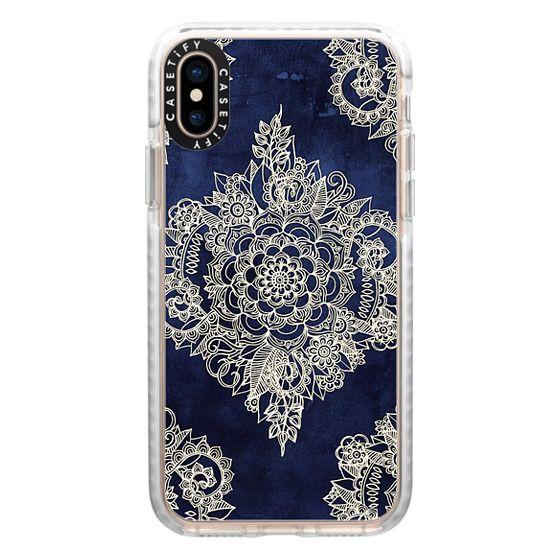 iPhone XS Cases - Cream Floral Pattern on Deep Indigo Ink