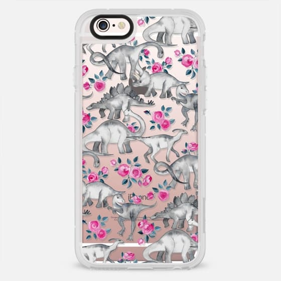 Dinosaurs and Roses - transparent - New Standard Case