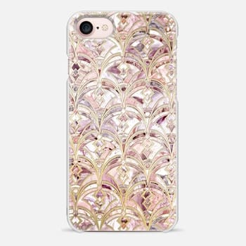 iPhone 7 Case Dusty Rose and Coral Art Deco Marbling Pattern