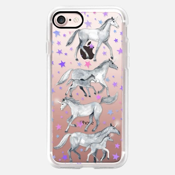 Little Unicorns and Stars on Transparent -