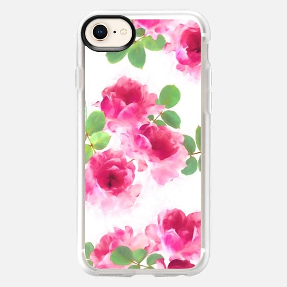 Raspberry Pink Painted Roses - Snap Case