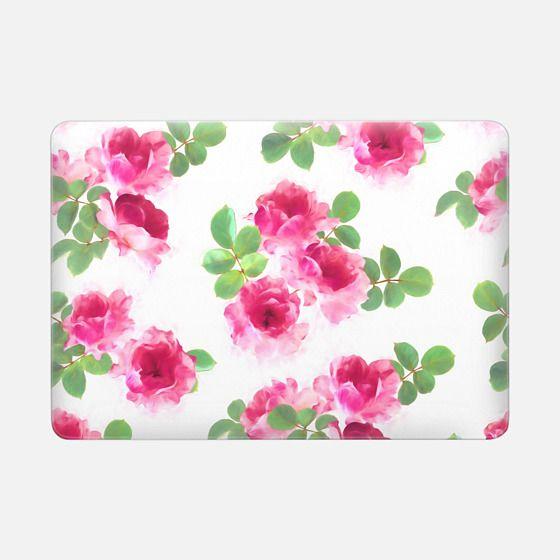 Raspberry Pink Painted Roses sleeve - Macbook Snap Case