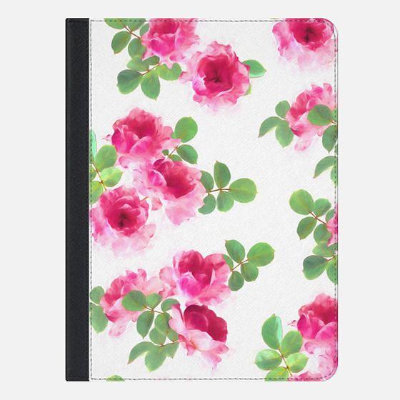 Raspberry Pink Painted Roses iPad cover - iPad Folio Case