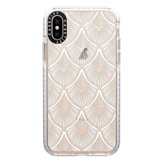 iPhone XS Cases - White Art Deco Lace on Crystal Transparent